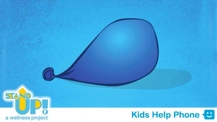 An illustration of a half blown-up blue balloon on a blue background.