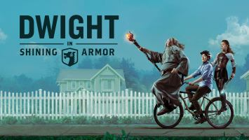 A warlock, a warrior and a boy on one bicycle riding in front of a white fence and a house in the background.